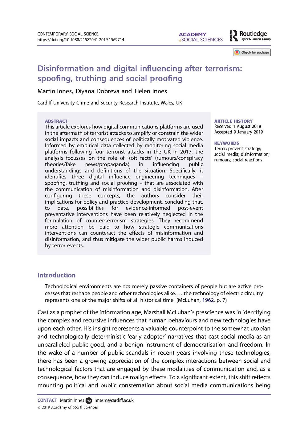 Disinformation and Digital Influencing After Terrorism: Spoofing, Truthing and Social Proofing