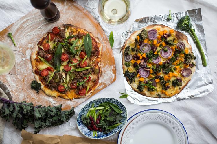 HOMEMADE PIZZAS - KALE & PUMPKIN + SPICED LAMB <BR>FREE!