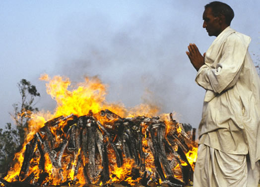 A funeral pyre in India...