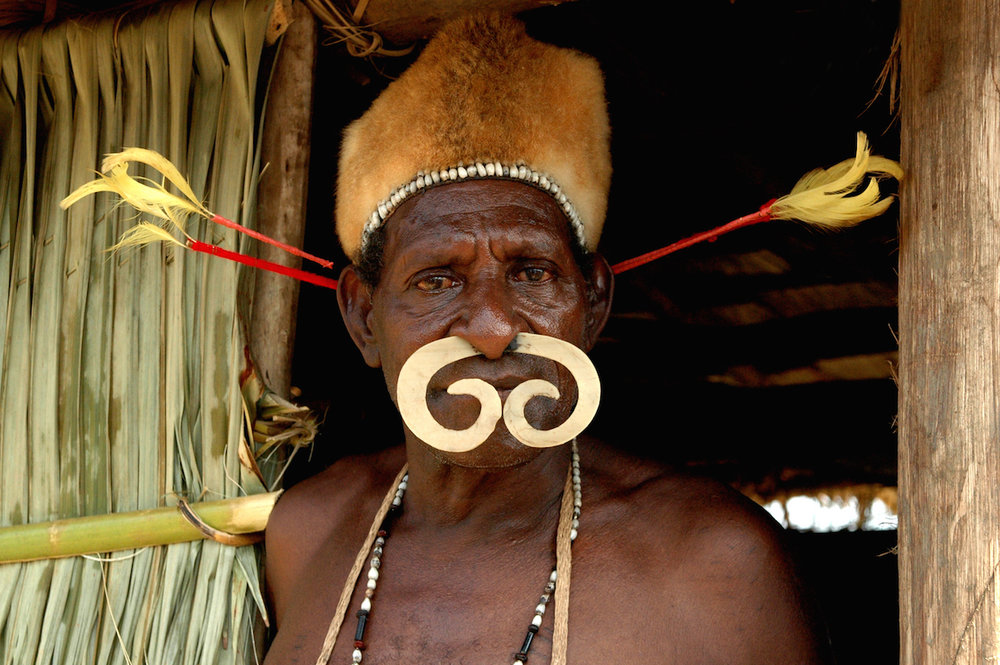 A warrior from a highland village in Asmat District, Papua Province (photo (c) Dani Ancil)