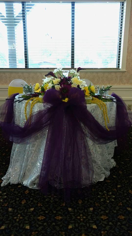 Bride and Groom table purple