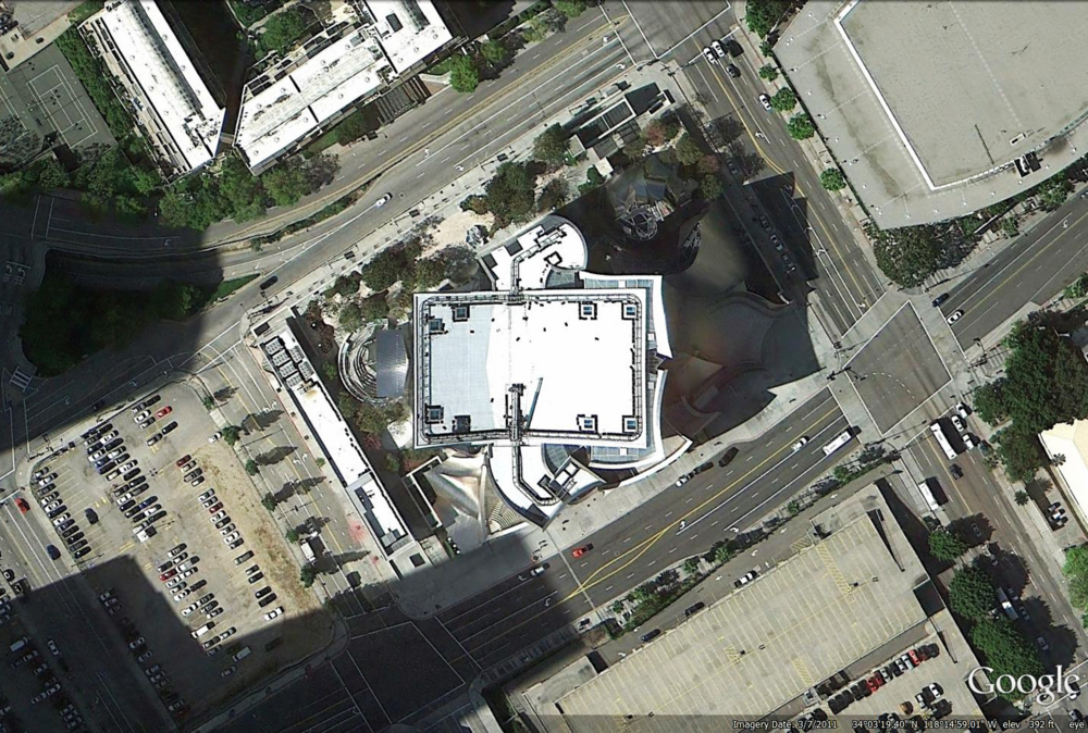 Satellite view of Walt Disney Music Hall, Los Angeles, California