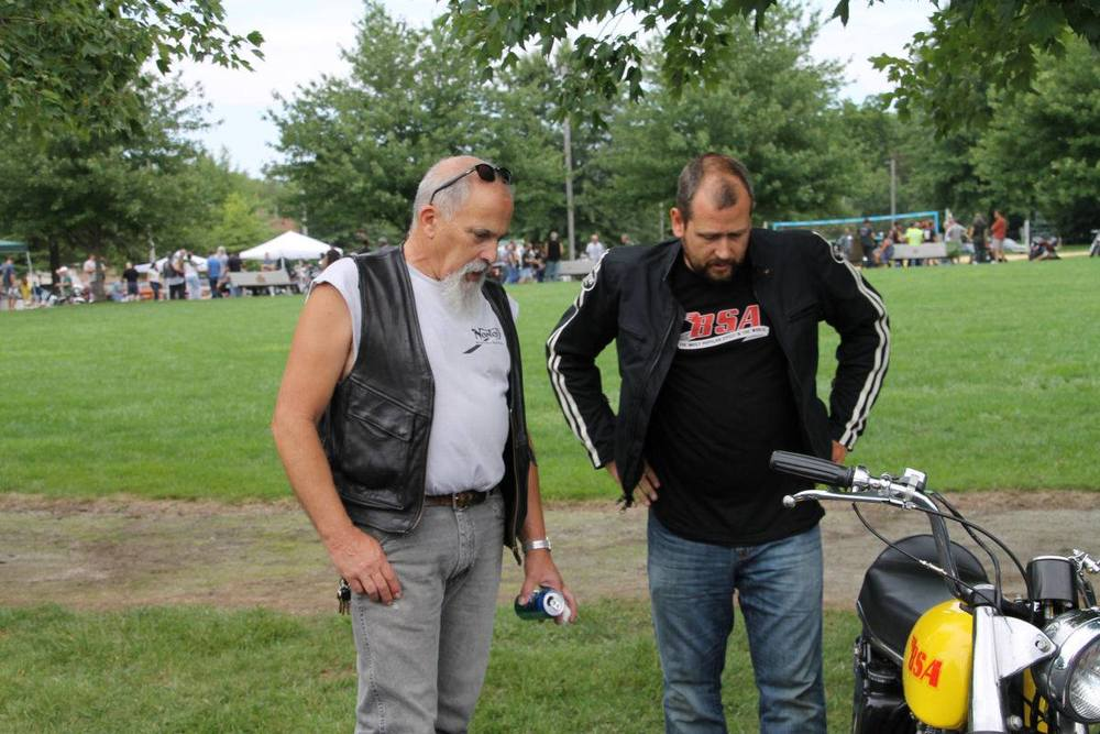 Tom Geiger and I checking out the B44 Victor I rode into the Oily Pipe's 'Vintage Daze' show. The only pic I could find of me with the jacket on.  (photo courtesy of David Beck)
