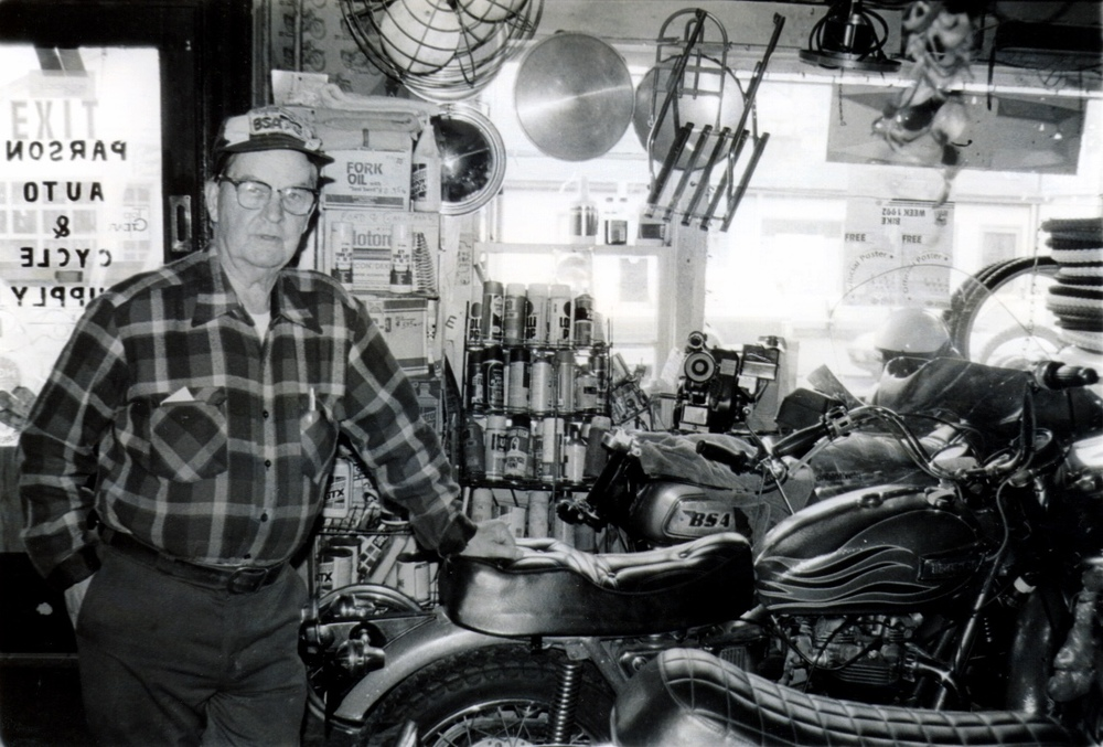 This is a picture I took of George Parson (of Parson Auto & Cycle in Lambertville, NJ) around 1993. He was the man in my area for British bikes and tall tales. Many an afternoon was spent with George and his wife sipping coffee in his kitchen. Many thanks George.