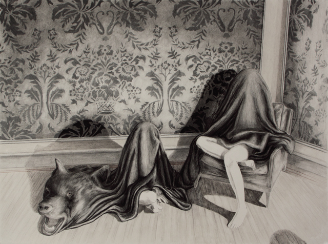 "study for Repose 2009, colored pencil and carbon pencil on paper, 22""x 30"""