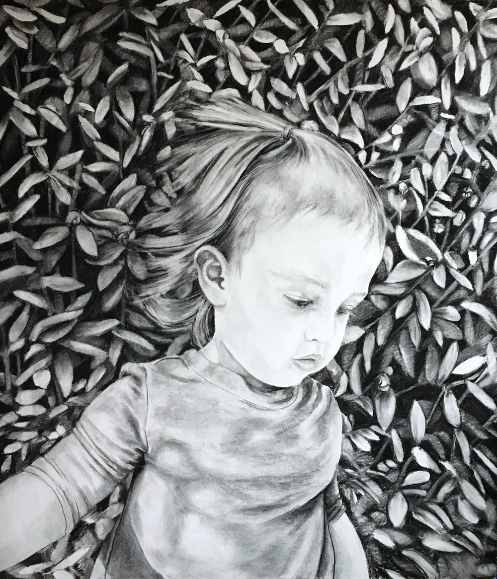 """Aurilla , charcoal on paper, 36.5"""" x 42"""", 2016."""