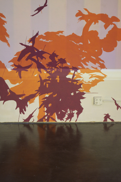 Gen Hampton Learned Rd,  paint and light projection, dimensions variable, 2010.