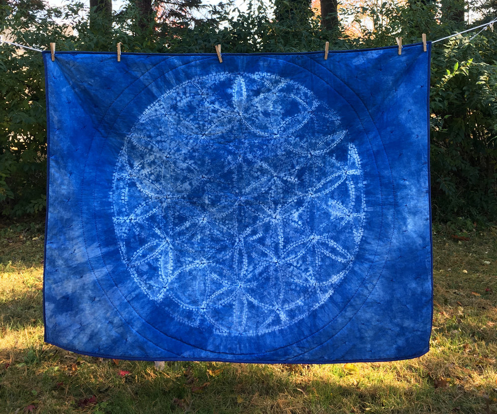 Flower of Life , Ori Nui Shibori Indigo dyed cotton, hand quilted quilt, 2018.