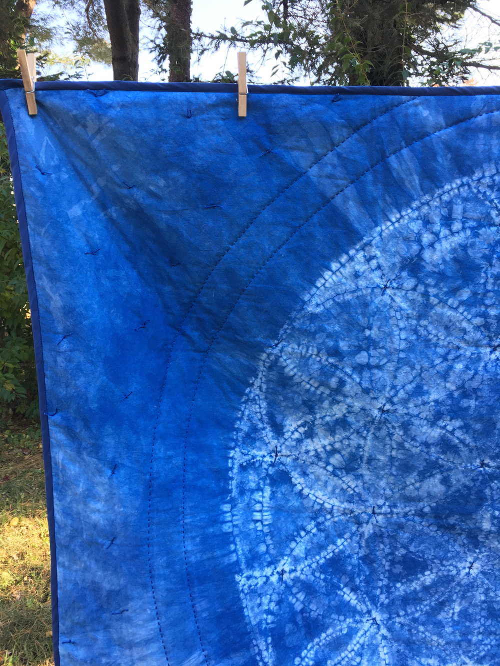 detail, Flower of Life , Ori Nui Shibori Indigo dyed cotton, hand quilted quilt, 2018.