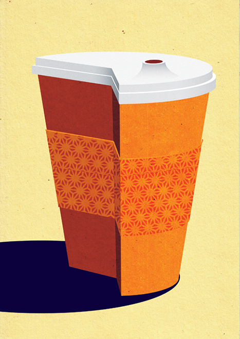 Cut Down on Coffee. Part of Budget Cuts series, self-initiated, 2011. Art Prints available at Society6 & Artflakes.