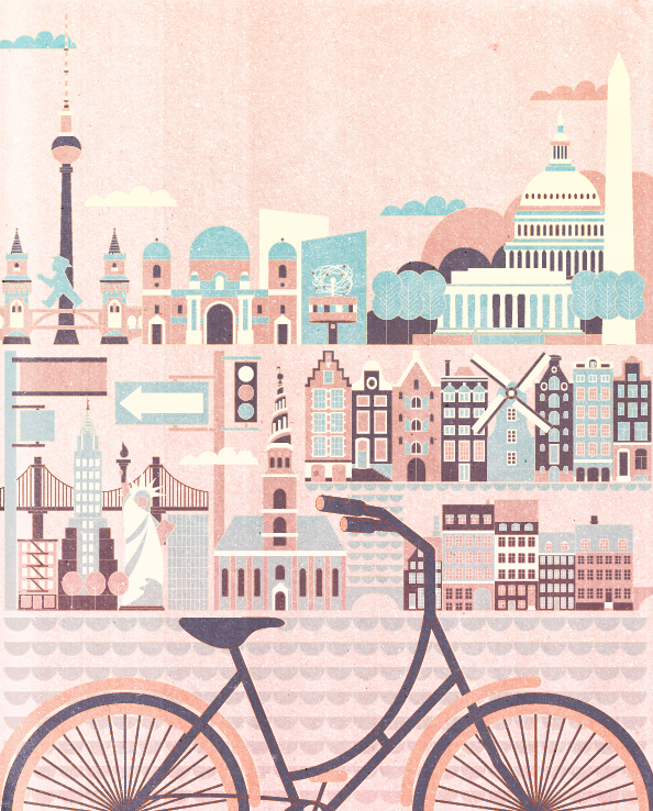"""Project:""""Best Cities to Tour by Bicycle""""includes New York, Washington DC, Amsterdam, Berlin, and Copenhagen.Art print available atmySociety6 store Initial Project:Best Cities to Tour by Bicycle, background illustration (monochrome version in blue)Client:AAA Traveler, PACE Communications, 2014"""