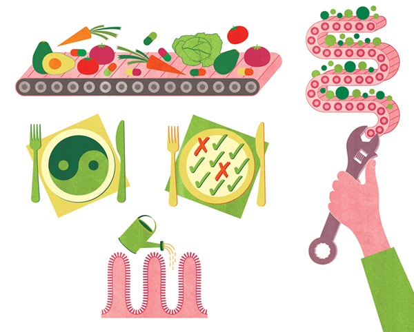 Project:Fixing one's guts by healty eating and lifestyle changes.Client:Experience Life Magazine, 2014