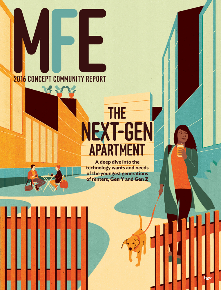 Project:  Millennial Housing, Front Cover illustration,  Client:  ALM | Multifamily Executive Magazine, 2016