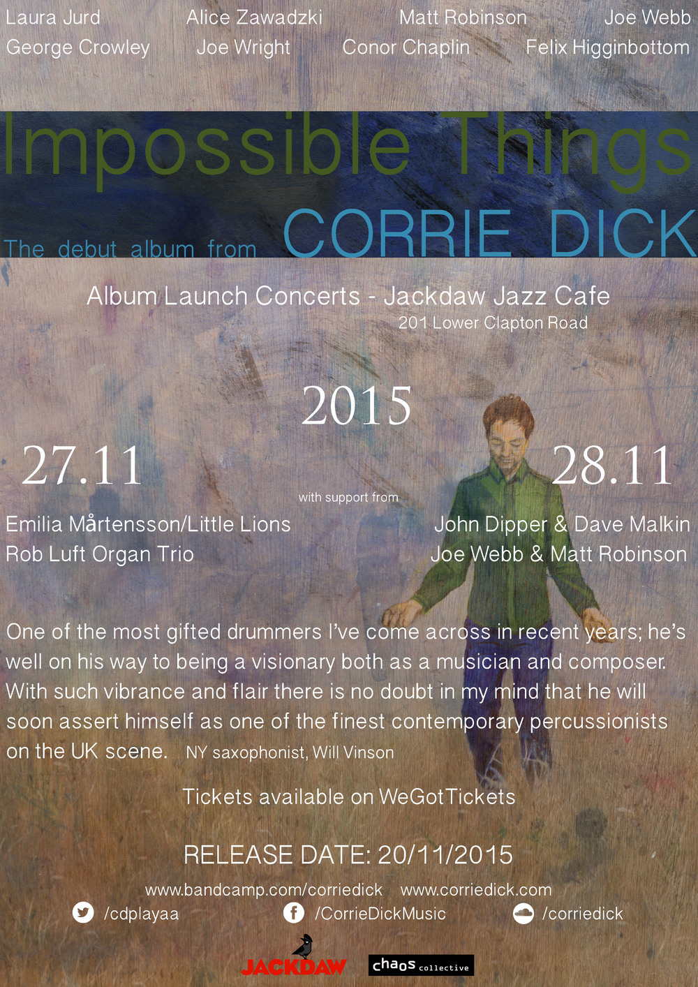 Poster for Composer, Band Leader &Musician Corrie Dick