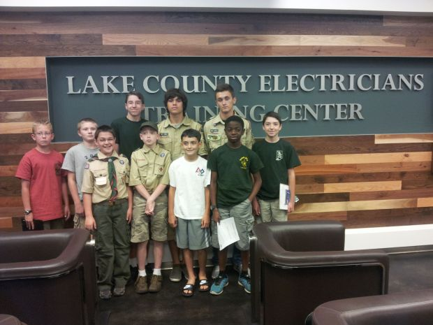 Boy Scouts who worked toward their Electricity Merit Badge are pictured, from left, Ben Dodge, Cooper Christianson, Brandon Meyers, Stevie McDunn, James Mack, Jeremy Munoz, Brink Wolak, Austin Linguinsky, Joseph Boyquay, Mikey McDunn. The Scout troops are from Lansing and Munster.