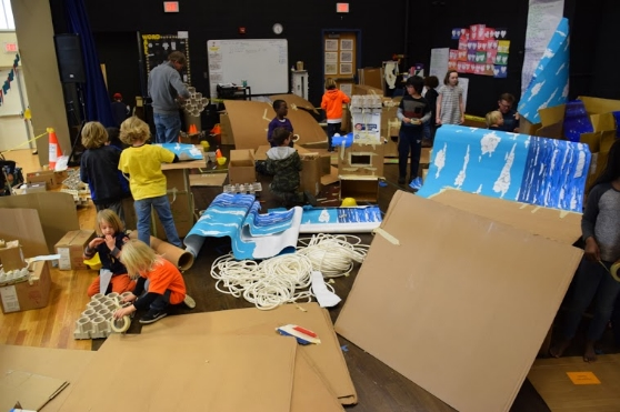A view of the box-building station at the Peconic Community School Mini Maker Faire, held on March 12th.