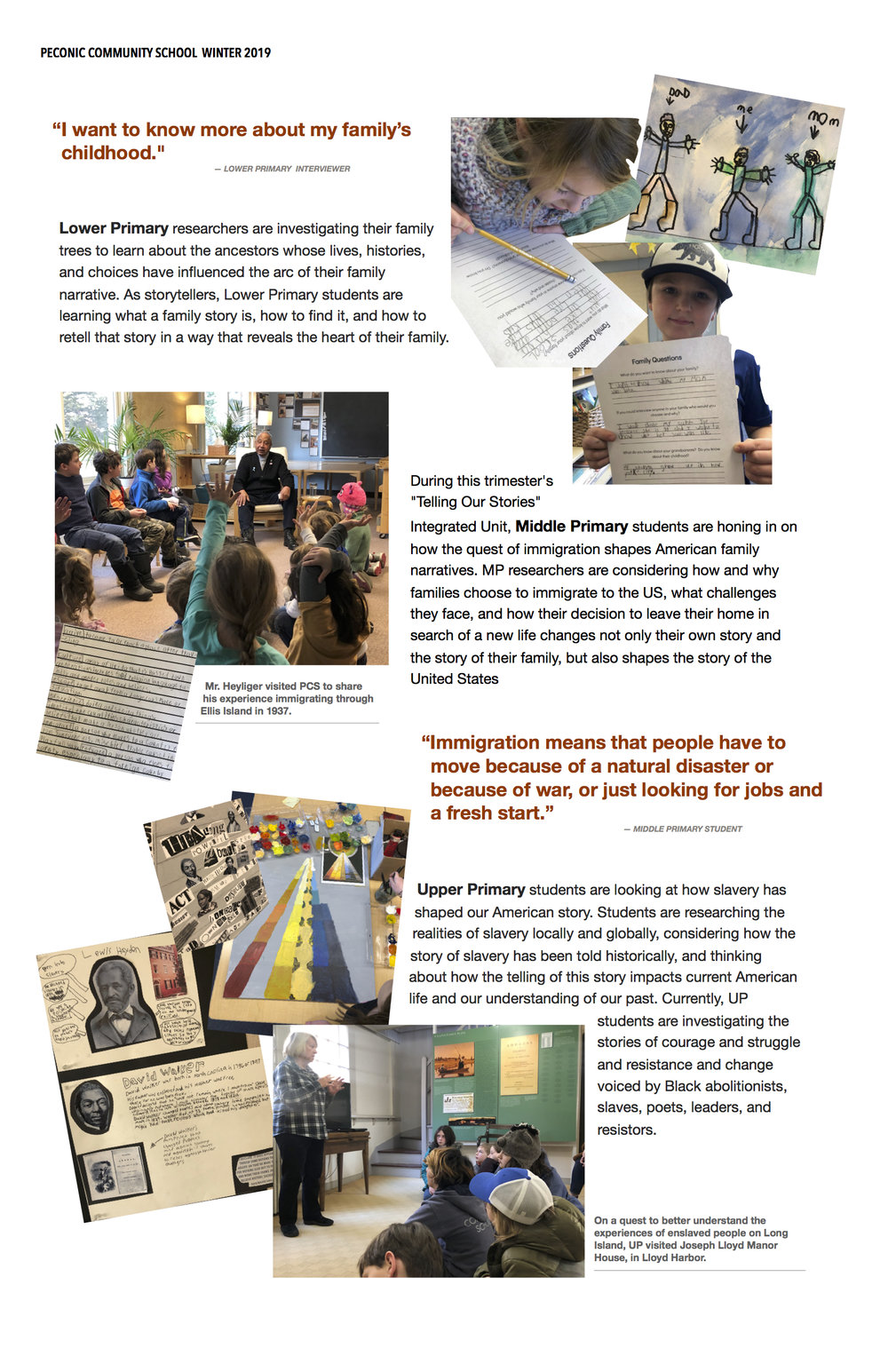 Telling Our Stories Integrated Unit Peconic Community School