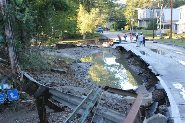 Bethel, VT, in the aftermath of tropical storm Irene in 2011. By U. S. Fish and Wildlife Service - Northeast Region [CC BY 2.0 (http://creativecommons.org/licenses/by/2.0) or Public domain], via Wikimedia Commons