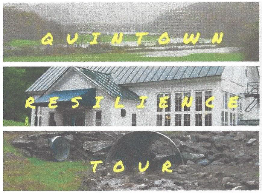 An advertisement for the Quintown Collaborative's resilience tour in August 2016. Participants visited three sites along the White River, traveling together in a school bus.