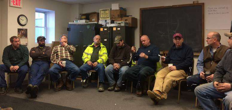 A road crew roundtable in Duxbury in December 2016. Credit: Friends of the Mad River.
