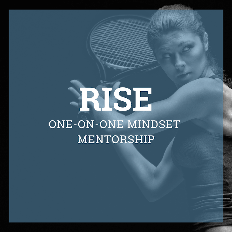 Girl looking focused holding tennis racket. Mentee in RISE, a performance mindset and mental training mentorship program with Kate Ziegler.