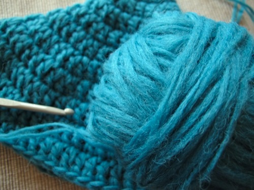 turquoise cosy-in-progress