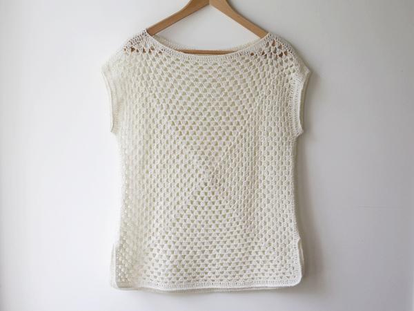 Maria Valles's Amma Granny Square Sweater in White