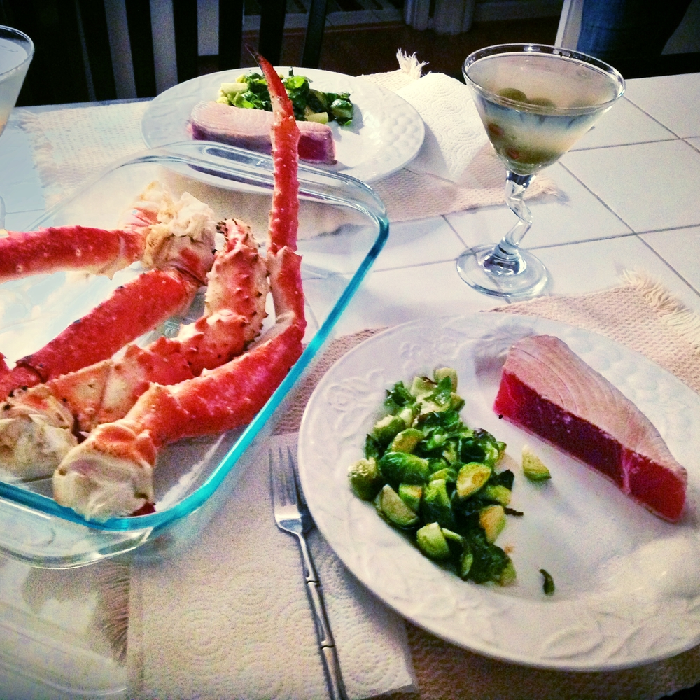 $40 Valentines Day dinner at home.  Ahi Tuna Steaks, King Crab, Brussel Sprouts & a few Dirty Martini's.  We would have spent $40 just on drinks at a seafood restaurant in Chicago.