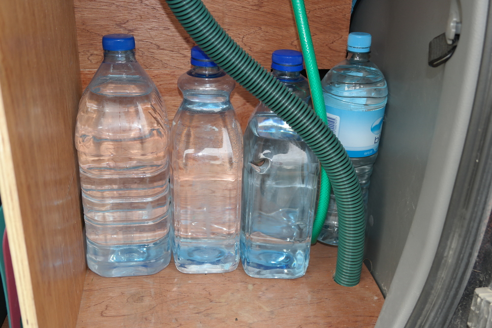 Not to brag, but these are just some of the old water bottles we had in our van...