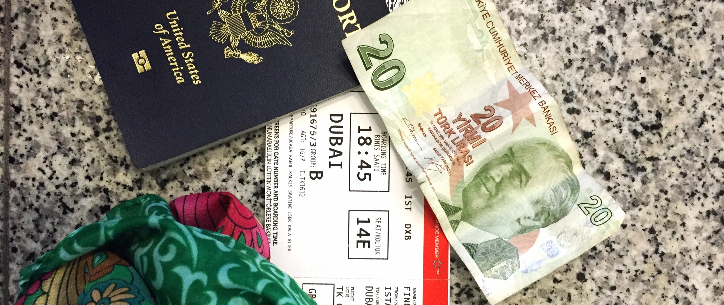 Passport, money and a ticket- Everything you need to travel.  (Really tough to use Turkeybucks in Dubai though...)