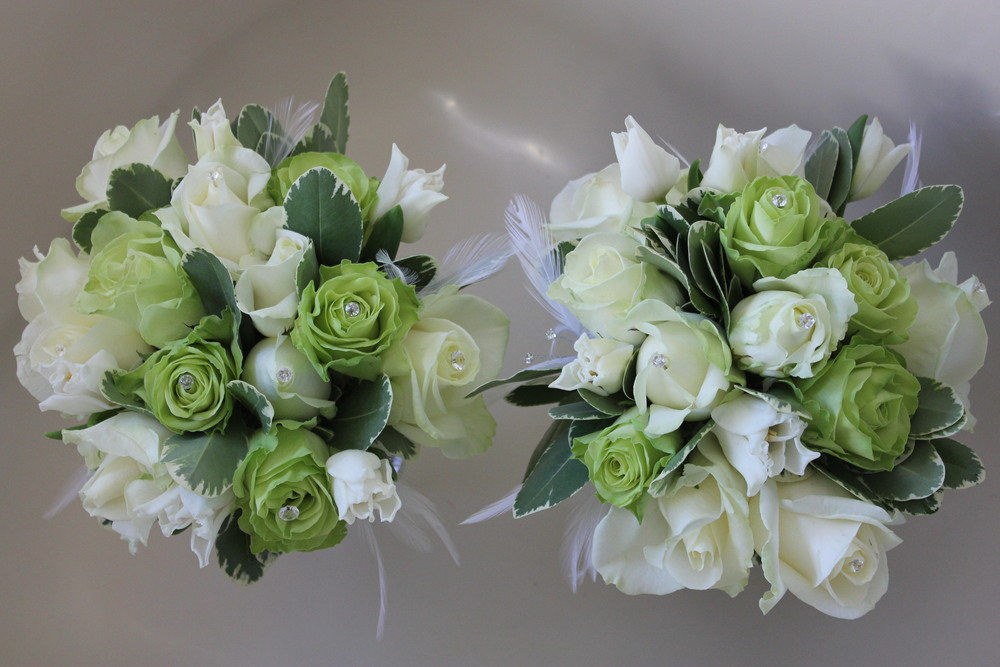 Bridesmaids green and white wedding bouquets. Florist Barnsley Huddersfield Sheffield Bagden Hall