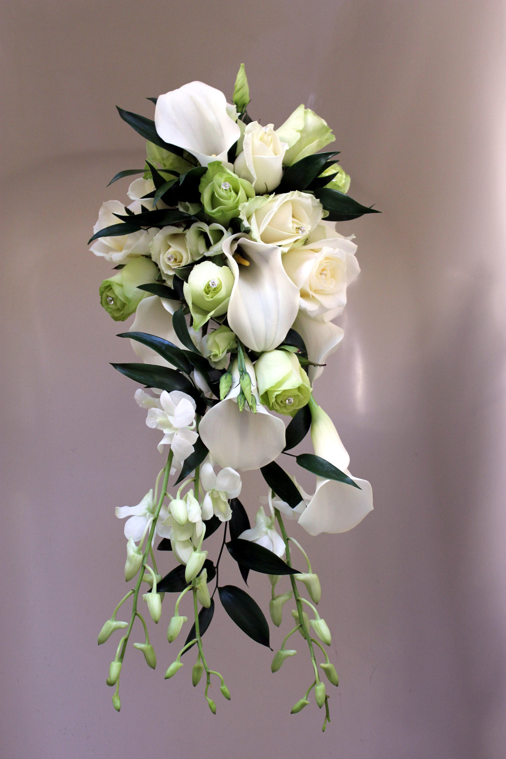 Bride's white shower wedding bouquet. Barnsley Huddersfield Sheffield Bagden Hall Wakefield