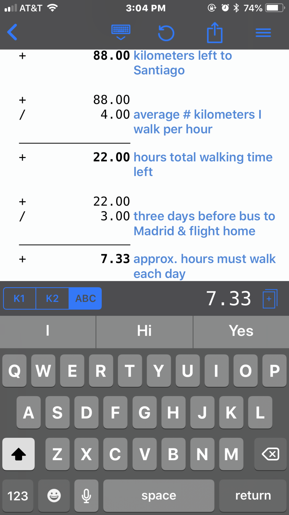 The text feature helps to keep track of calculations.