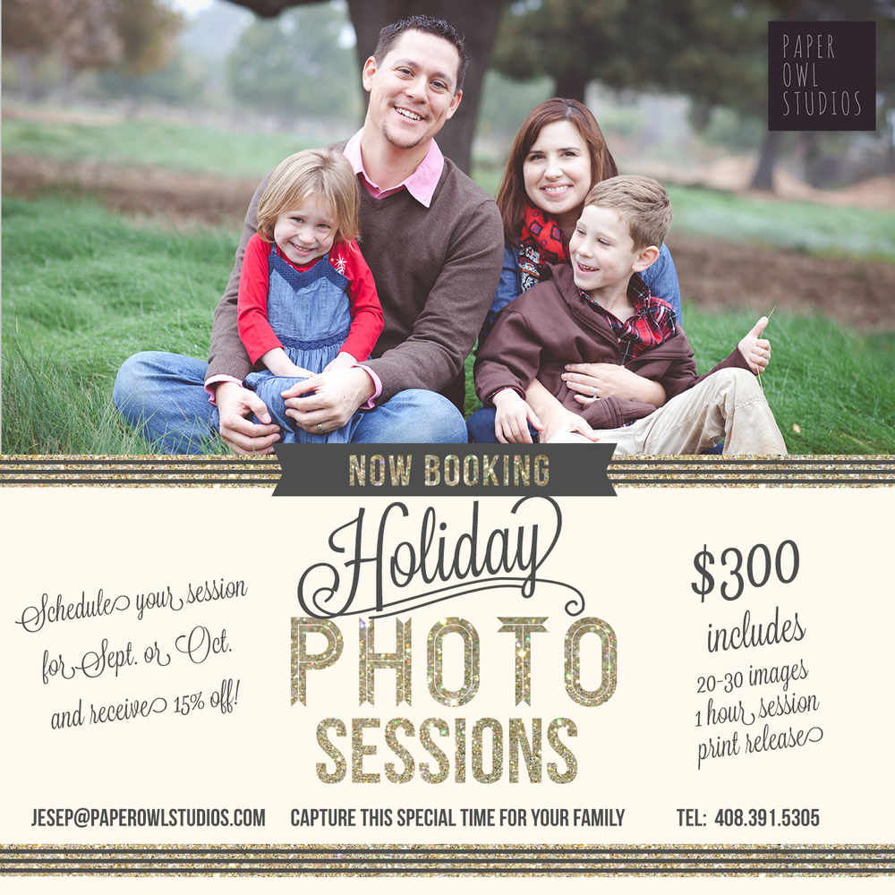 * 15% off applies to standard sessions only    * Photo shoot must take place before November 1, 2014    * Full $50 deposit due at time of booking    * Additional $25 per person for groups over 4