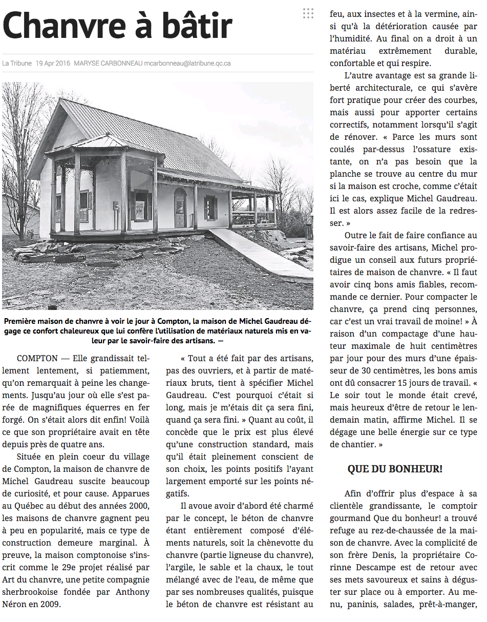 LA TRIBUNE, Avril 2016
