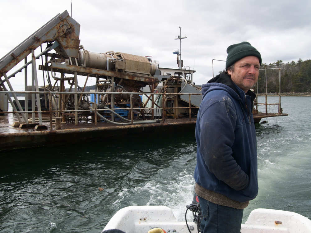 "(04/04/09) Carter Newell, who holds a masters in oceanography and a PhD in marine biology farms mussels on the coast of Maine. ""This is a good place for job creation,"" he says. ""You can create your own job. It [just] takes a little figuring out to get it to work."""