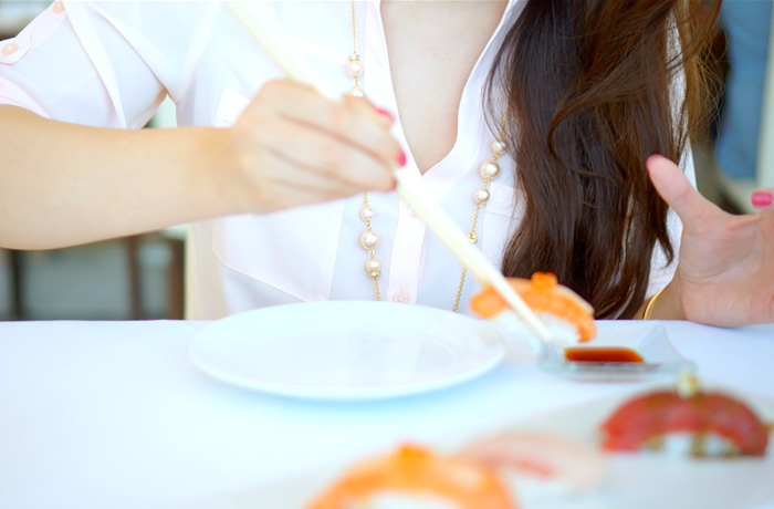 Yummy salmon sushi!