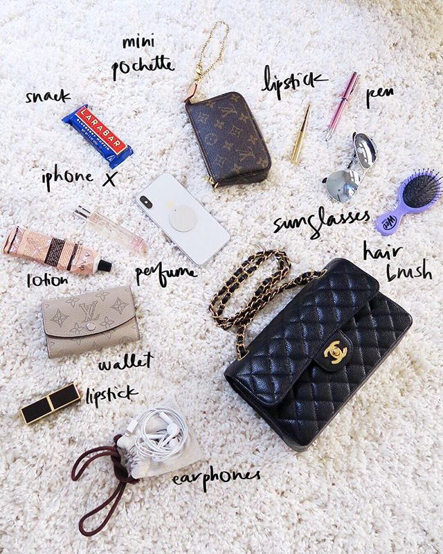 💪🏻 Today on the blog I show you guys how I pack ALL THIS into my Chanel Small Flap!! 💪🏻 JK!! 😜 I had a good chuckle while setting up this joke photo! I do show you what fits and how I typically pack my Small Flap though! Link in profile (Desgettier.com) #wimb