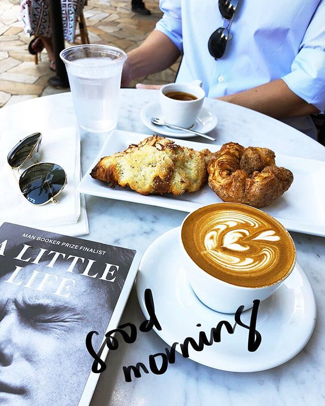 "A good book, coffee, and baked goods. WHAT MORE COULD YOU EVER WANT 🥐☕️📖 (Anyone read ""A Little Life"" by Hanya Yanigahara? I'm really liking it!) #bookworm #someofusjustliketoread #ladygaga"