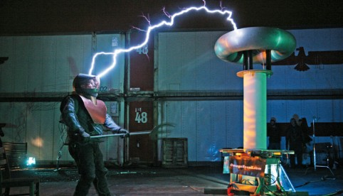 """Positively Shocking""  Omega Recoil, a San Francisco-based performance troupe plays with metal suits and electricity."