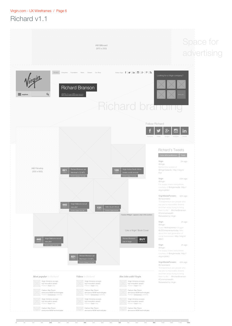 Richard Branson's landing page