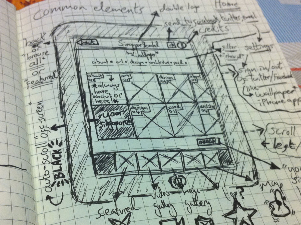 More sketching of the home screen and primary routes