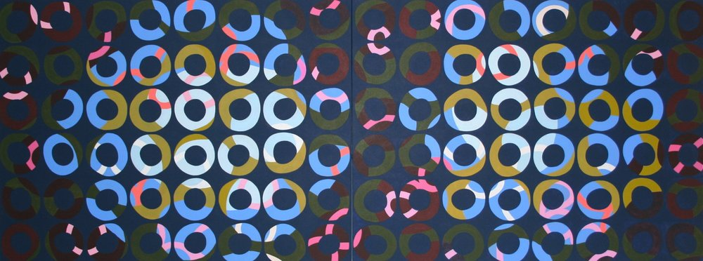 "layers 35, 2012, acrylic on canvas, diptych, 80"" x 30"""
