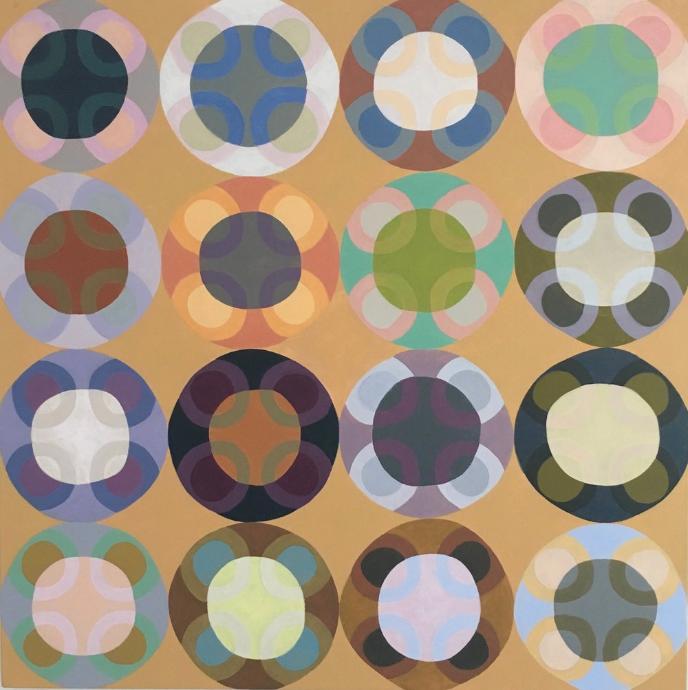 """orbs 7, 2017, acrylic on canvas, 32"""" x 32"""""""
