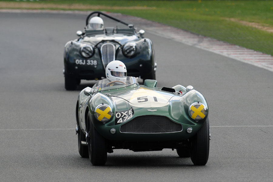 Steve Boultbee-Brooks in his beautiful DB3S leads Colin Youle in XK120    Photo - Steve Jones