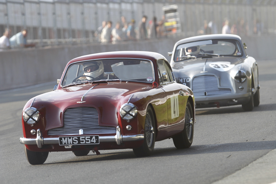 50% of the FISCAR committee - albeit Richard Bell is no longer able to pilot his own grey DB 2/4 Jim Campbell and Tim Stamperl  ( driver) in their Aston Martins.    Photo - Mick Walker