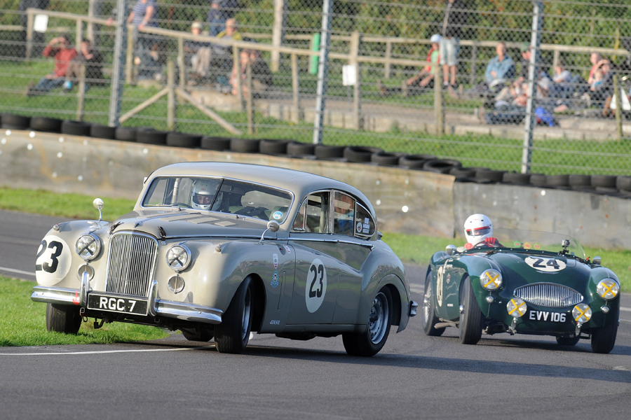 How do you get by a Mk7 Jaguar? Well, with great difficulty and sometimes never, as in this case! Graham and Alistair Love contrived to hold off David Large and Paul Woolmer in another epic race long dice to finish 15th with the Healey 100S just two tenths behind at the flag!