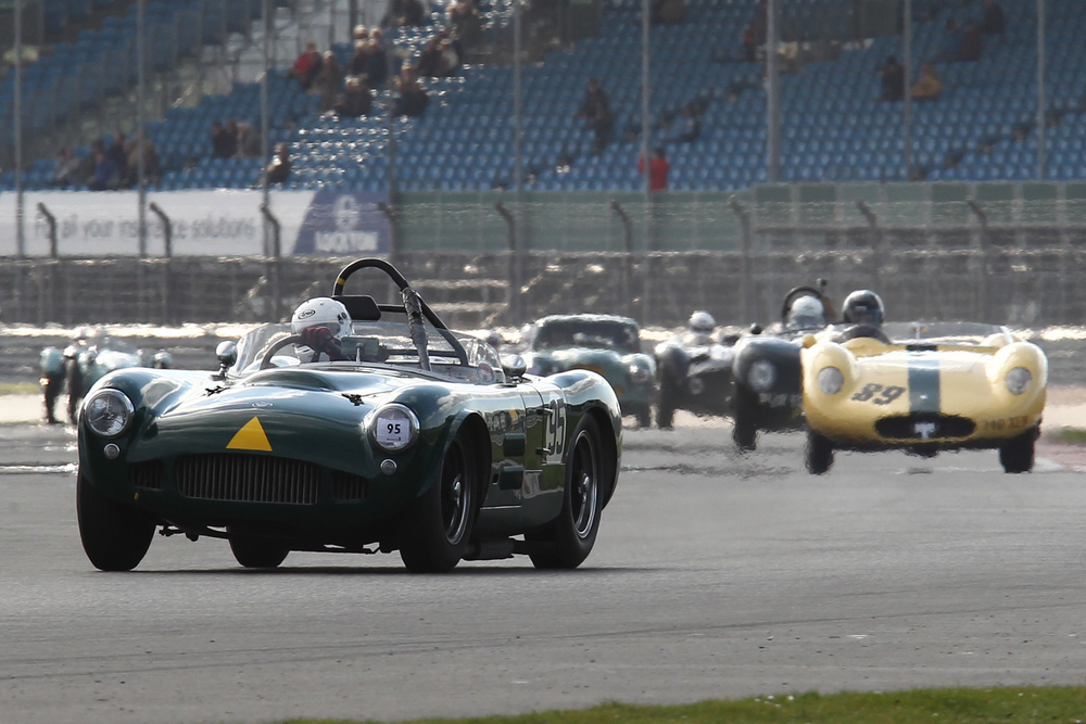 Patrick Blakeney-Edwards lead in Roger Buxton's HWM Jaguar was shortlived.   Photo - Richard Styles
