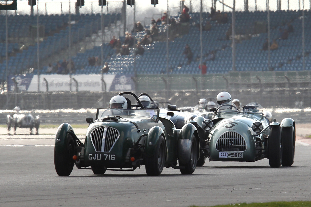 Cycle wings are de riguer for some. Grahame Bull's Healey Silverstone and Nicolas Bert's HW Alta-Jaguar  Photo - Richard Styles