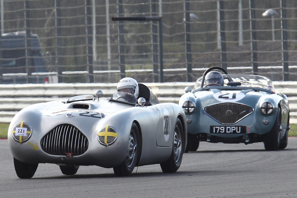 Rare visitor to these shores - Lutz Rathenow and the Veritas RS, the oldest car in the race, chased hard by Robert Clarke in the Austin Healey 100.      Photo - Richard Styles